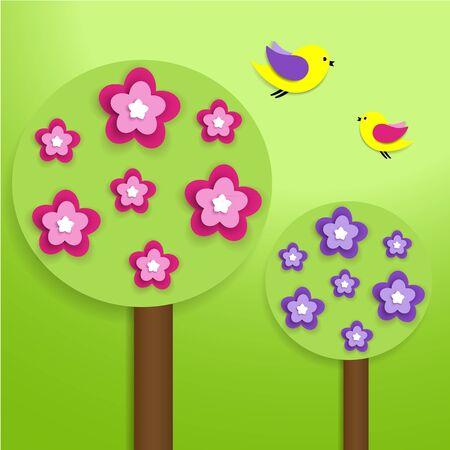 Papírové stromy s barevnými květy