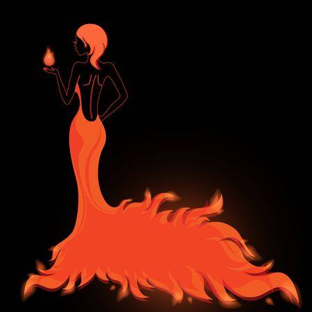 Dívka v ohnivém šaty