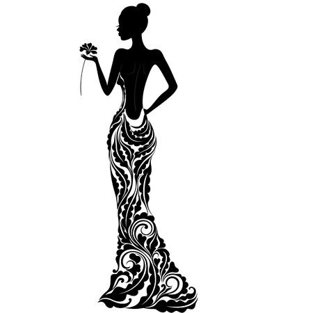 abito elegante: Ragazza in un vestito con ornamenti floreali Vettoriali