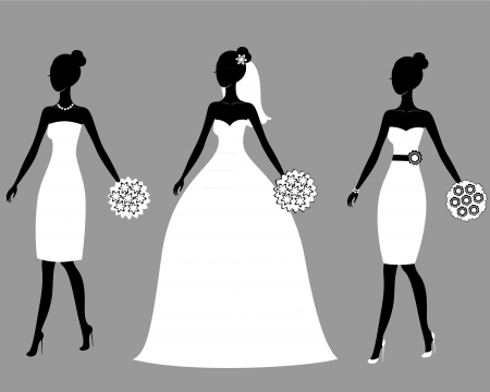 bridal bouquet: Silhouettes of beautiful young brides