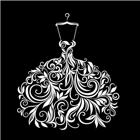 schaufensterpuppen: Wei�es Kleid mit floralem Ornament Illustration