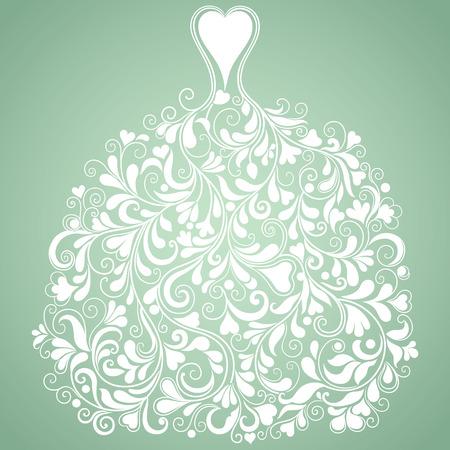 wedding dress silhouette: White wedding dress   Illustration