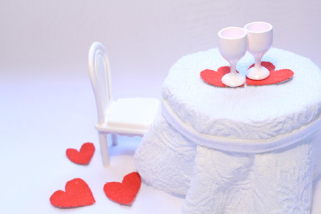 White romantic table in a cafe Stock Photo