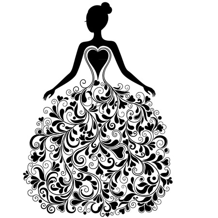 gown: Vector silhouette of beautiful dress