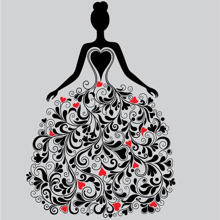 flower show: Vector silhouette of elegant dress