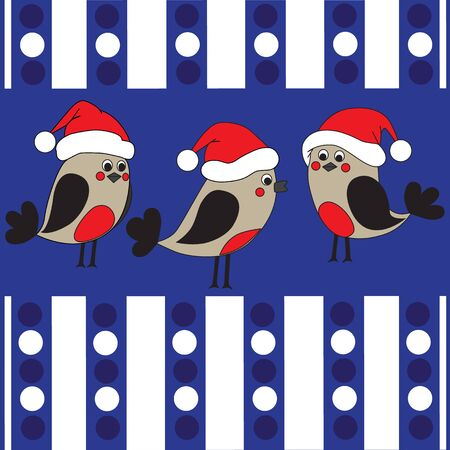 Hand draw funny birds in a christmas hats