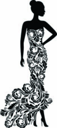 Vector silhouette of elegant wedding dress 일러스트