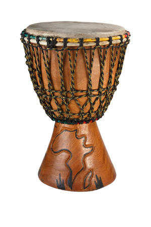Djembe - ethnic drum made of wood and goat skin Dymb    Isolated object on a white background  photo