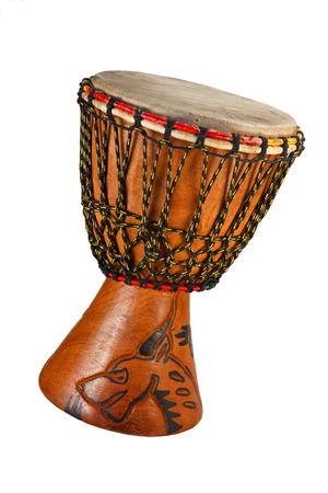 Djembe - ethnic drum made of wood and goat  Isolated object on a white background