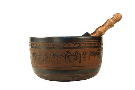 tibetan singing bowl: metal Tibetan singing bowl isolated on white background