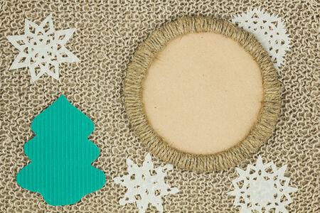 Jute yarn knitted fabric. Snowflakes, Christmas Tree. Scrapbook. Background. photo