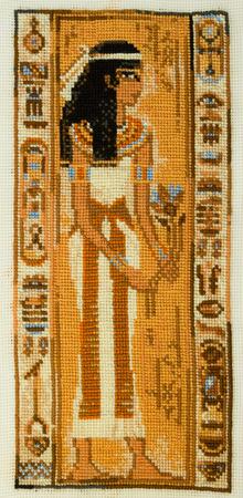 priestess: Handmade cross-stitch Ancient Egyptian priestess my own work. Stock Photo
