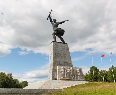 the liberator: Monument to the Liberator Soldier. The Second World War. Memorial Peremilovskiy visota. Yakhroma, Moscow Region, Russia. Editorial