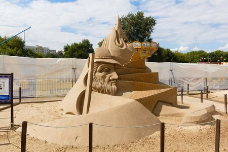 hemingway: KOLOMENSKOYE,MOSCOW,RUSSIA-AUGUST 2, 2015:Masterpieces of world literature. The exhibition of sand sculptures.The Old Man and the Sea by Ernest Hemingway. Author Ruslan ladybugs, Bulgaria