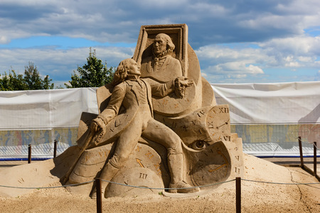 dorian: KOLOMENSKOYE,MOSCOW,RUSSIA-AUGUST 2, 2015:Masterpieces of world literature. The exhibition of sand sculptures.Portrait of Dorian Gray Oscar Wilde, author Ivan Savenkov, Russia