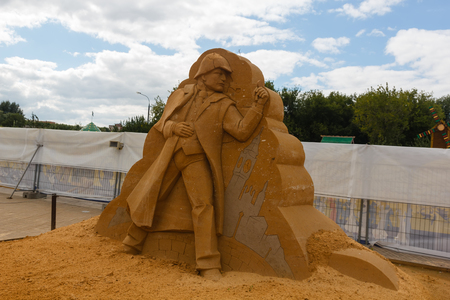 mikhail: KOLOMENSKOYE,MOSCOW,RUSSIA-AUGUST 2, 2015:Masterpieces of world literature. The exhibition of sand sculptures.Memoirs of Sherlock Holmes by Arthur Conan Doyle, author Mikhail Fedotov, Russia Editorial