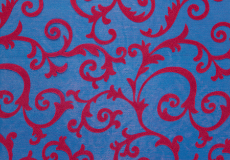 palmetto: Floral ornament, ornament in baroque style. Bright pattern on blue background. Stock Photo