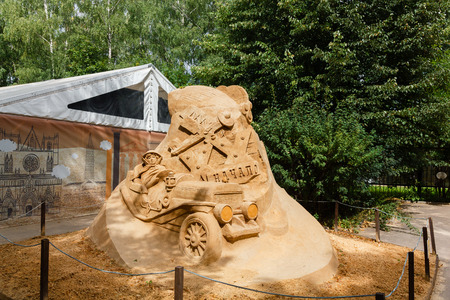 20th century: Sokolniki, MOSCOW, RUSSIA - August 2, 2015: From time immemorial. Russian exhibition of sand sculptures. The composition of  The 20th century beginning. Author Sergey Tselebrovsky.