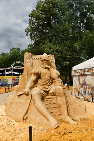 conquistador: Sokolniki, MOSCOW, RUSSIA - August 2, 2015: From time immemorial. Russian exhibition of sand sculptures. Composition Conquistador. Author Alexander Zhidkov.