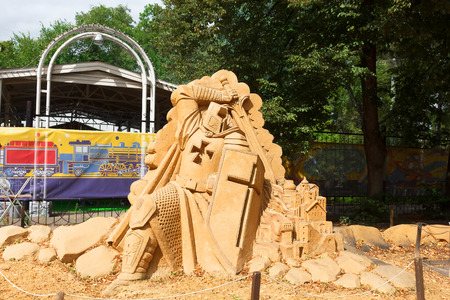 crusade: Sokolniki, MOSCOW, RUSSIA - August 2, 2015: From time immemorial. Russian exhibition of sand sculptures. Composition crusade. Author Ivan Savenkov.