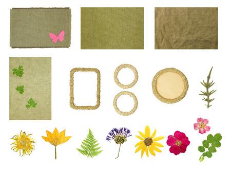 scrapbooking에 대한 요소를 설정하십시오. 프레임 꼰 황마 스레드. 말린 꽃을 말린. 흰색 배경에 고립 된 개체입니다.