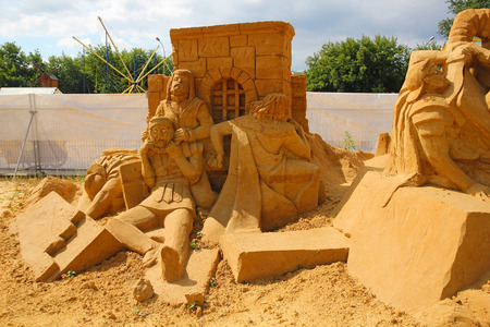 rebellion: KOLOMENSKOYE,MOSCOW,RUSSIA-JULY 10, 2011:Masterpieces of Italian culture Exhibition of sand sculptures. Spartacus Rebellion by Andrey Kudrin (Russia)