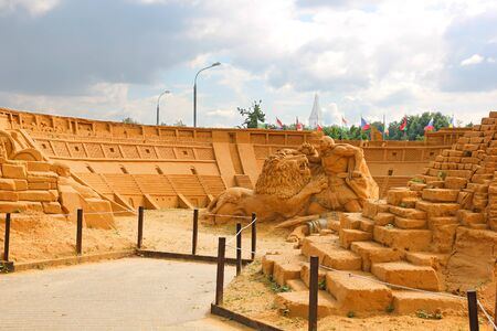 italian culture: KOLOMENSKOYE,MOSCOW,RUSSIA-JULY 10, 2011:Masterpieces of Italian culture Exhibition of sand sculptures.Colosseum. By Milvani(Ireland), Steiger(Netherlands), Molokov,Gryadov,Fedotov,Torkhov(Russia)