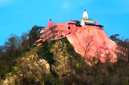 ashram: Watercolor. Mansa Devi Temple. Haridwar is one of the seven main sacred cities of Hinduism. India, State of Uttarakhand. Travel, tourism. Stock Photo