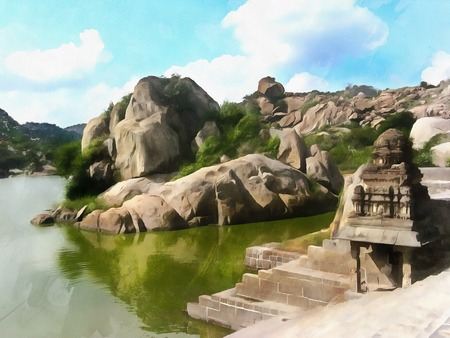 Watercolor. Pond Kalyana Mahal  to GINGEE  fort. India, State of Tamil Nadu. Travel, tourism. Stock Photo