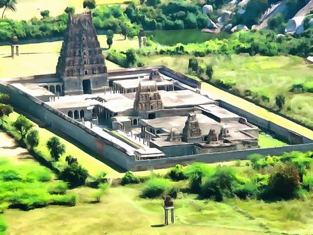 ashram: Watercolor. Venkataramana Temple - largest temple to GINGEE  fort. India, State of Tamil Nadu. Travel, tourism.