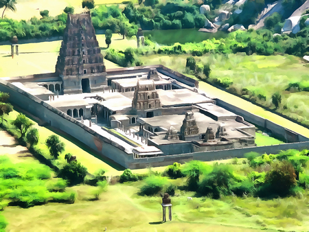 Watercolor. Venkataramana Temple - largest temple to GINGEE  fort. India, State of Tamil Nadu. Travel, tourism.