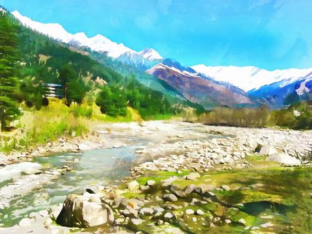 Watercolor. Himalayan Kullu Valley. Hot source area near the town of Manali. India, State of Himachal Pradesh. Travel, tourism. Stock Photo