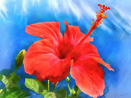 Watercolor pattern hibiscus. Vibrant illustration with realistic tropical flowers and leaves. Exotic graphic background, wallpaper. Stylized fabulous decorative backdrop.