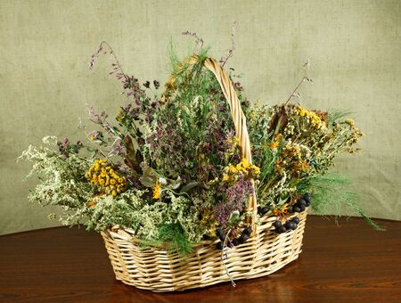 herbal cosmetics: Basket with healing herbs. Dried grass for use in alternative medicine, spa, herbal cosmetics, herbal medicine, preparing infusions, decoctions, tinctures, powders, ointments, butter, tea, bath. Stock Photo