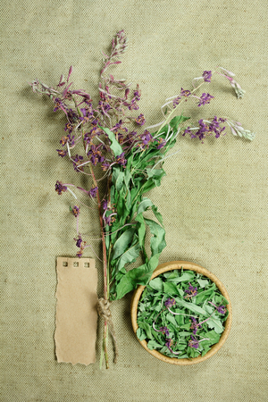 herbal cosmetics: Fireweed. Dried herbs for use in alternative medicine, spa, herbal cosmetics, herbal medicine, preparing infusions, decoctions, tinctures, powders, ointments, butter, tea, bath.
