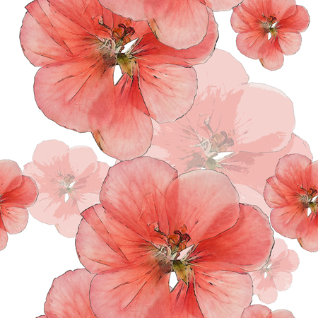 cranesbill: Geranium, cranesbill. Colorful texture of pressed dry flowers. Seamless pattern for continuous replicate. Beautiful photo collage.