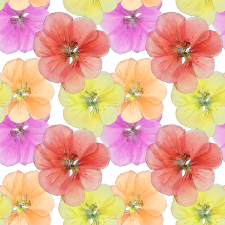 Geranium, cranesbill, pelargonium. Colorful texture of pressed dry flowers. Seamless pattern for continuous replicate. Beautiful photo collage.
