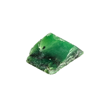 nephritis: Semiprecious natural stone isolated on white background. Colorful green nephrite gemstones.
