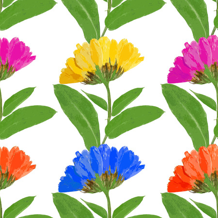 calendula: Marigold, calendula officinalis. Texture of flowers. Seamless pattern for continuous replicate. Floral background, photo collage for production of textile, cotton fabric. For use in wallpaper, covers. Stock Photo