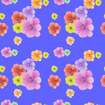 Geranium. Texture of flowers. Seamless pattern for continuous replicate. Floral background, photo collage for production of textile, cotton fabric. For use in wallpaper, covers.