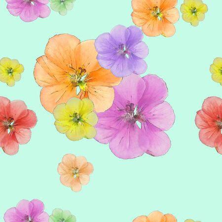 Geranium, cranesbill, pelargonium. Texture of flowers. Seamless pattern for continuous replicate. Floral background, photo collage for production of textile, cotton fabric. For use in wallpaper, covers.