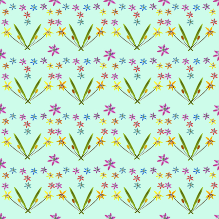 Bluebell, scilla, primroses. Texture of flowers. Seamless pattern for continuous replicate. Floral background, photo collage for production of textile, cotton fabric. For use in wallpaper, covers. Stock Photo