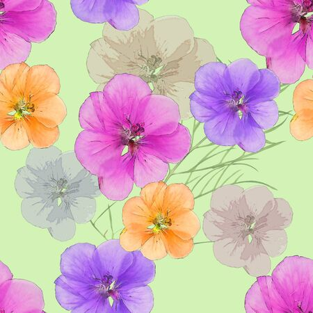 cranesbill: Geranium, pelargonium. Texture of flowers. Seamless pattern for continuous replicate. Floral background, photo collage for production of textile, cotton fabric. For use in wallpaper, covers. Stock Photo