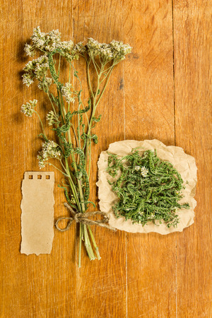 Yarrow. Dried herbs for use in alternative medicine, spa, herbal cosmetics, herbal medicine, preparing infusions, decoctions, tinctures, powders, ointments, butter, tea, bath.