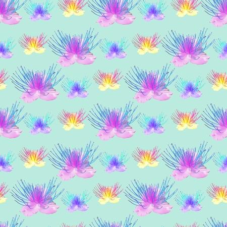 ケッパー。花のテクスチャー。連続レプリケーションのシームレスなパターン。花の背景、繊維、コットン生地の生産のための写真のコラージュ。