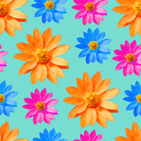 Adonis. Texture of flowers. Seamless pattern for continuous replicate. Floral background, photo collage for production of textile, cotton fabric. For use in wallpaper, covers.