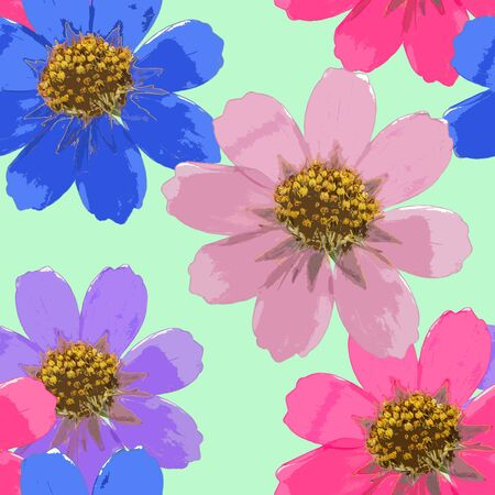 Cosmos. Texture of flowers. Seamless pattern for continuous replicate. Floral background, photo collage for production of textile, cotton fabric. For use in wallpaper, covers.