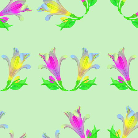 Alstroemeria. Texture of flowers. Seamless pattern for continuous replicate. Floral background, photo collage for production of textile, cotton fabric. For use in wallpaper, covers Stock Photo