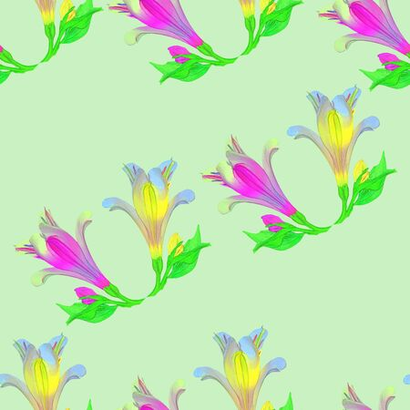 petal: Alstroemeria. Texture of flowers. Seamless pattern for continuous replicate. Floral background, photo collage for production of textile, cotton fabric. For use in wallpaper, covers Stock Photo