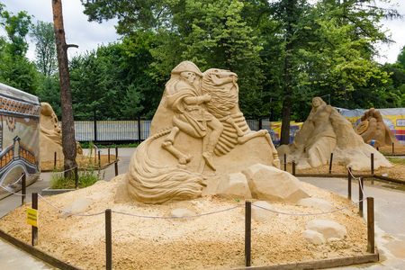 Sokolniki, MOSCOW, RUSSIA - August 2, 2015: From time immemorial. Russian exhibition of sand sculptures. Composition Napoleon. Author Konstantin Kuzyarin. Editorial